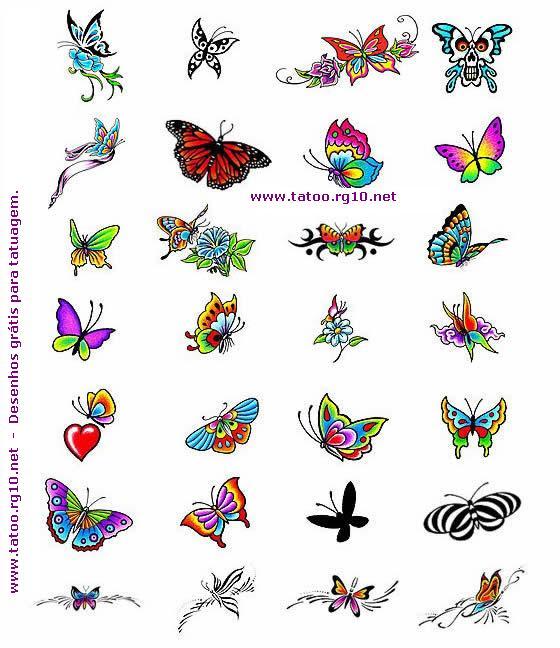 Coleção de desenhos borboletas tattoo feminina